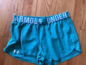 UNDER ARMOUR teal womens shorts running small Heat Gear
