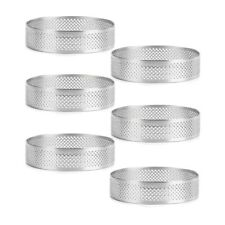 6 Pack Stainless Steel Tart Rings Heat-resistant Perforated Cake Mousse Ritools
