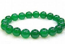 "8mm Real Natural Green Jade Round Beads Bracelet 7.5"" AAA+"