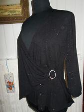 Pull fin Tunique polyester noir stretch BEXLEYS L 44/46 Col V pailleté