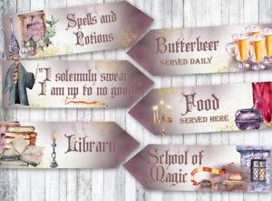 6 Magicians & Wizards Party School of Magic Decoration Arrow Signs