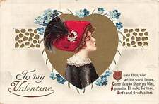 B26/ Valentine's Day Love Holiday Postcard 1913 Cleveland Ohio Woman Hat 30