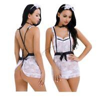Sexy Women Maid Costume Cosplay Lingerie Lace Dress Babydoll G-string Sleepwear