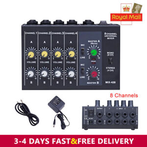 Ultra Compact Low Noise 8 Channels Metal Mono Stereo Audio Sound Mixer Black