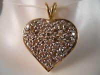DESIGNER 14K YELLOW GOLD .60CT CHAMPAGNE DIAMOND HEART LOVE NECKLACE PENDANT