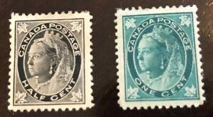 Canada postage stamp 1/2 & 1 cent #66-67 MOG HR SCV $60