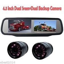 """4.3"""" Dual Screen Display Car Rear View Monitor with 2xBackup Camera Night Vision"""
