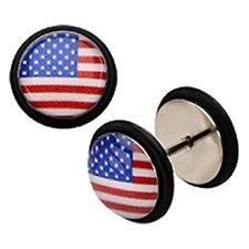 Earrings Rings 18g 5/16 Steel Cheater Plug American Flag Logo Fronts Pair USA