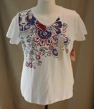 St. John��s Bay, PXL, White Knit, Red White & You Top, New with Tags
