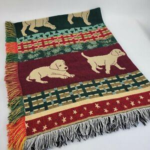 Golden Retriever / Labrador Puppy Tapestry Fringed Throw Blanket NEW
