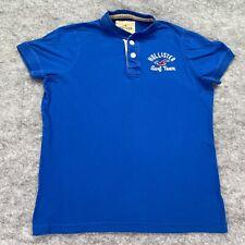 Hollister T-Shirt Men Large Blue Henley Surf Team Solid Short Sleeve Logo