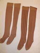 """Vtg 2 Pr Beige Reinforced Heel & Toe Nylon Garter Hosiery Stockings 8.5-9 / 27"""""""