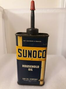 Vtg Dated 1937 4oz Sunoco Household Oil Tin Can Advertising Sn Oil Company