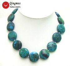 "GENUINE Natural 25mm Round Chrysocolla Stone Necklace for Women Chokers 18"" 5374"