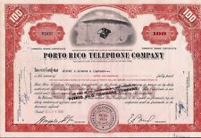 Stock certificate Porto (Puerto) Rico Telephone Company broker Merrill Lynch