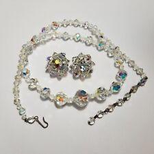 Vintage Aurora Borealis Glass Bead Necklace & Clip On Earrings