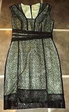 Impresionante REISS TALI Sparkle Vestido estilo túnica verde negro encaje con lentejuelas UK 8 EUR 36 US 4