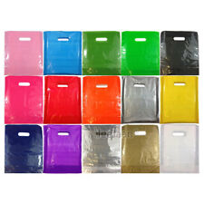 COLOURED PLASTIC CARRIER BAGS GIFT SHOP STRONG PATCH HANDLE BAG BOUTIQUE RETAIL