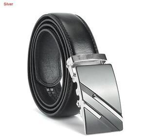 Mens Black Genuine Leather Ratchet Belt Automatic Buckle Waistband Waist Strap