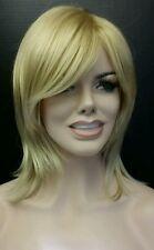 Straight Mid Length Light Golden Blonde Layered Wig Sideswept Bangs