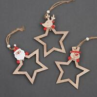 3 Pcs Star Shape Wooden Christmas Tree Hanging String Decorations Ornament Craft