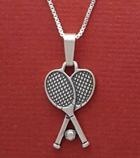 Tennis Racquets Necklace Solid Sterling Silver 925 Rackets Pendant n Chain ball