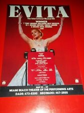 EVITA, RARE 1981/82 National Tour Broadway Musical Flyer, Florence Lacey, Miami