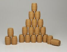 (20) - Brown Wood Barrels HO Scale Unfinished Walthers Herpa Promotex Wiking NEW
