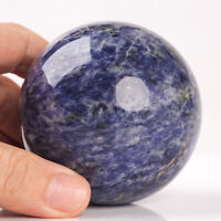 434g 68mm Natural Blue Sodalite Quartz Crystal Sphere Healing Ball Chakra Decor