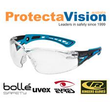 Bolle RUSH PLUS Safety Glasses Blue/Black Frame Clear Lens Platinum Coating