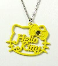 Pendentif Hello Kitty chaîne noeud couleur jaune paillettes