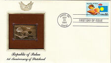 (18952) USA FDC Palau 1st Anniversary with 22Ct Gold replica stamp Agana GU 1995