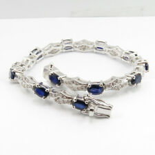 "925 Sterling Silver Natural SAPPHIRE & CZ Gemstone 7"" Inches Exclusive Bracelet"