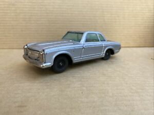 Bandai Mercedes 230SL Pagoda friction tin toy sports car silver fixed roof 1960s