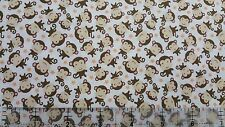Sweet Baby Girl Baby Monkies Toss White 100% cotton Fabric by the yard