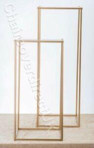 60,80,100cm Gold & Silver Rectangle Metal Flower Stand Pedestal Plinth QT04400