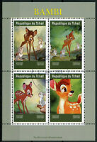 Chad 2019 CTO Bambi 4v M/S Rabbits Deer Disney Cartoons Animation Stamps