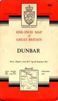 1963 Vintage Ordnance Survey One-Inch Seventh Series Map Sheet 63 Dunbar