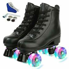 New listing Women's Roller Skates Classic Leather High Top Double Row Skates Four-Wheel S...