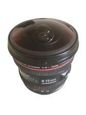 canon EF Fisheye 8-15 mm F/4.0 L + deckel + sonnenblende + beutel