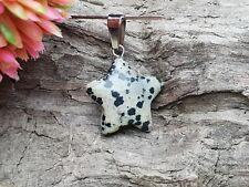 Edelstein Stern star Dalmatiner Jaspis Ketten Anhänger Pedant Schmuck DIY