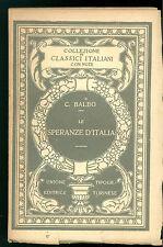 BALBO CESARE SPERANZE D'ITALIA UTET 1925 CLASSICI ITALIANI 10 RISORGIMENTO