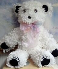COLLECTIBLE CROCHET WHITE TEDDY BEAR, YARN, GREAT CONDITION