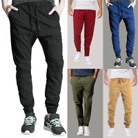 Men's Chino Casual Jogger Pants Elastic Waistband Bottom Slim Fit Twill Trousers