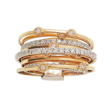 18K White Rose Two Tone Gold Round Diamond Wedding Band Cocktail Right Hand Ring
