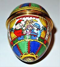 HALCYON DAYS ENAMEL BOX - PUNCH AND JUDY EGG - PUPPET SHOWS - TENT & CHARACTERS