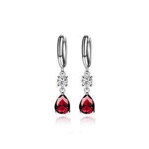 3pcs Women Pear Red Ruby Cubic Zirconia Gemstone CZ Dangle Drop Earrings Gift