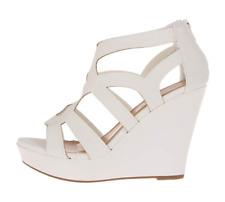 Top Moda Womens Ella-15 Fashion Wedge Sandals White 8.5