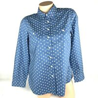 Talbots Womens Blouse Shirt Size Mp Medium Petite Blue Long Sleeve Cotton A20
