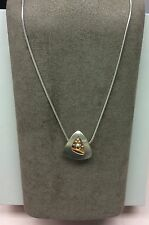 """Ed Levin Shadow Box Pendent Two Tone Silver and 14k Gold NWT 18"""" Snake Chain"""